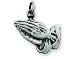 Sterling Silver Antiqued Praying Hands Charm style: QC5799