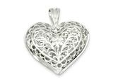 Sterling Silver Filigree Heart Charm style: QC579