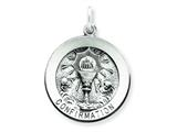 Sterling Silver Antiqued Confirmation Medal Pendant - Chain Included style: QC5905