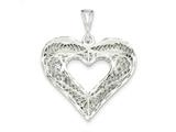 Sterling Silver Filigree Heart Charm style: QC590