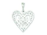 Sterling Silver I Love You Mom Heart Pendant - Chain Included style: QC597