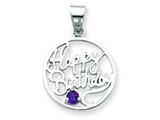Sterling Silver Amethyst Happy Birthday Pendant - Chain Included style: QC6013