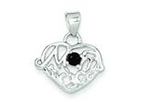 Sterling Silver Sapphire Mom Heart Pendant - Chain Included style: QC6019