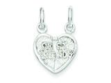 Sterling Silver Best Friends 2-piece Break Apart Heart Charm style: QC603