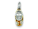 Sterling Silver Tan Enamel Shoe Charm style: QC6052
