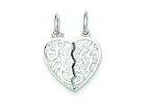 Sterling Silver Sweet Heart 2-piece Break Apart Heart Charm style: QC605