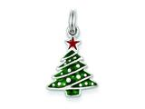 Sterling Silver Enamel Christmas Tree Charm style: QC6064