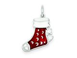 Sterling Silver Enameled Stocking Charm style: QC6077