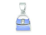 Sterling Silver Blue Enamel Purse Pendant - Chain Included style: QC6177