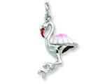 Sterling Silver Enamel Flamingo Charm style: QC6247