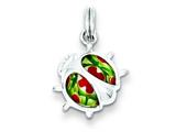Sterling Silver Resin Ladybug Charm - Chain Included
