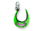 Sterling Silver Green and Pink Visor Charm style: QC6321