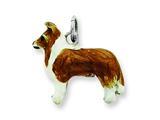 Sterling Silver Enameled Shetland Sheepdog Charm style: QC6413