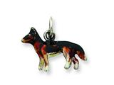 Sterling Silver Enameled Small German Shepard Charm style: QC6435