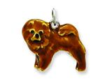 Sterling Silver Enameled Chow Dog Charm style: QC6445
