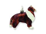 Sterling Silver Enameled Large Collie Dog Charm style: QC6449