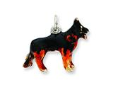 Sterling Silver Enameled Medium German Shephard Charm style: QC6457