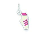 Sterling Silver Pink Enameled Sneaker Charm style: QC6466