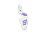 Sterling Silver Purple Enameled Sneaker Charm style: QC6467