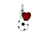 Sterling Silver Enamel I Heart Soccer Ball Charm style: QC6478