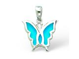 Sterling Silver Blue Resin Butterfly Pendant - Chain Included