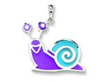 Sterling Silver Purple and Blue Resin Snail Pendant - Chain Included