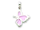 Sterling Silver Pink Resin Butterfly Pendant - Chain Included