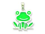 Sterling Silver Resin Frog Pendant - Chain Included