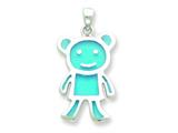 Sterling Silver Resin Blue Monkey Pendant - Chain Included