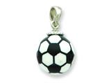 Sterling Silver Resin Large Soccerball Pendant - Chain Included