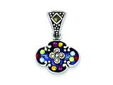 Sterling Silver Multicolor Cubic Zirconia and Marcasite Antiqued Pendant - Chain Included style: QC6610