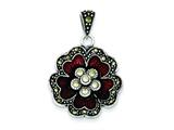 Sterling Silver Marcasite Red Enamel Flower Pendant - Chain Included style: QC6614