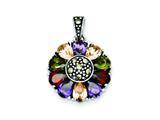 Sterling Silver Multicolor Cubic Zirconia and Marcasite Antiqued Round Pendant - Chain Included style: QC6618