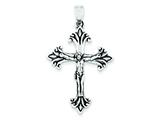 Sterling Silver Antiqued Cross Pendant - Chain Included style: QC6642