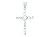 Sterling Silver and Cubic Zirconia Polished Cross Pendant - Chain Included style: QC6687