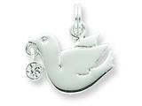 Sterling Silver Cubic Zirconia Polished Dove Charm style: QC6693