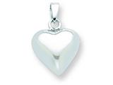 Sterling Silver Small Polished Puffed Heart Pendant - Chain Included style: QC6725