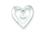Sterling Silver Polished Heart W/cz Dangle Pendant - Chain Included style: QC6729