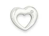 Sterling Silver Polished Heart W/cz Slide Pendant - Chain Included style: QC6731