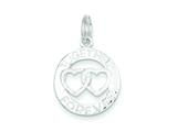 Sterling Silver Satin and Polished Round Together Forever Charm style: QC6764