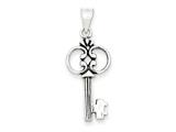 Sterling Silver Antiqued Key Pendant - Chain Included style: QC6776