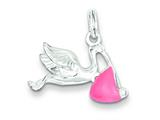 Sterling Silver Pink Enamel Polished Stork Charm style: QC6803