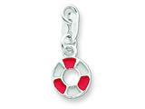Sterling Silver Enameled and Polished Lifesaver Pendant - Chain Included style: QC6910