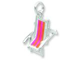 Sterling Silver Enamel Beach Chair Charm style: QC6911
