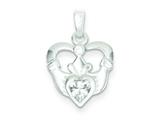 Sterling Silver Polished Claddagh With Cubic Zirconia Pendant - Chain Included style: QC7002