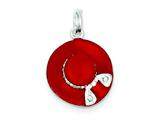 Sterling Silver Cubic Zirconia Enamel Hat Charm style: QC7078