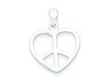 Sterling Silver Peace Sign Heart Pendant - Chain Included style: QC7110