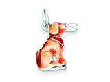 Sterling Silver Light Brown and Enamel Dog Charm style: QC7152