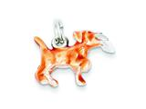 Sterling Silver Beige and Enamel Running Dog Charm style: QC7153