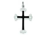 Sterling Silver Polished Black Enamel Budded Cross Pendant - Chain Included style: QC7261